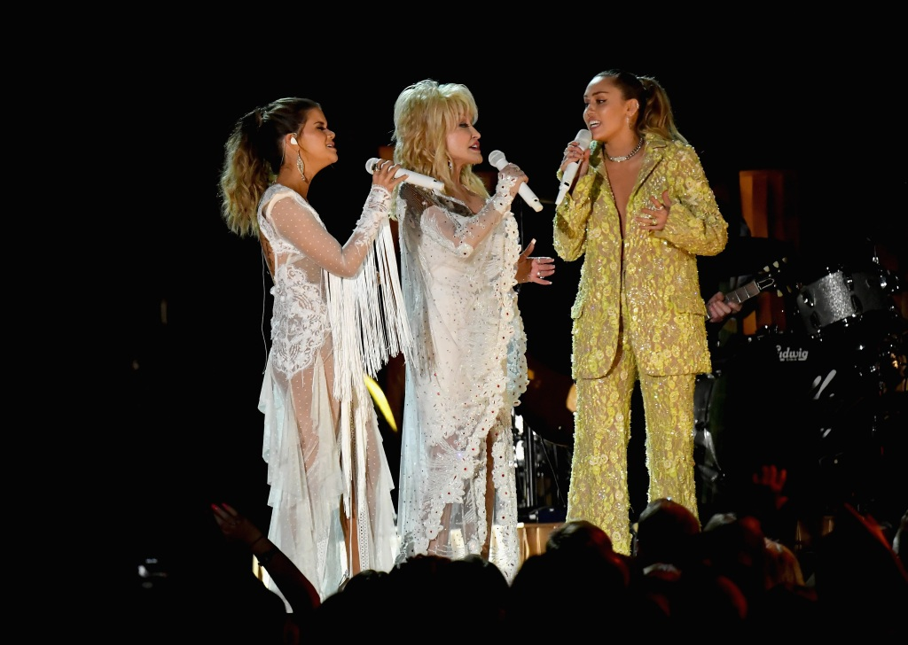 Maren Morris, Dolly Parton, and Miley Cyrus perform onstage during the 61st Annual GRAMMY Awards