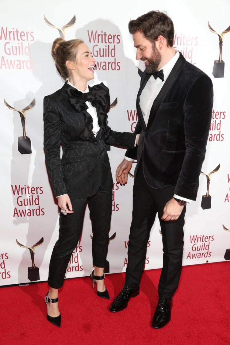 Emily Blunt and John Krasinski attend the 71st Annual Writers Guild Awards New York ceremony at Edison Ballroom