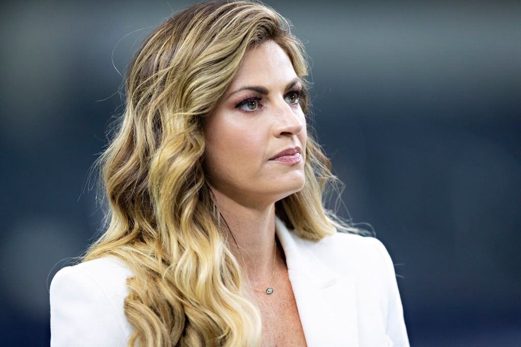 Erin Andrews on the field before a game between the Dallas Cowboys and the Washington Redskins