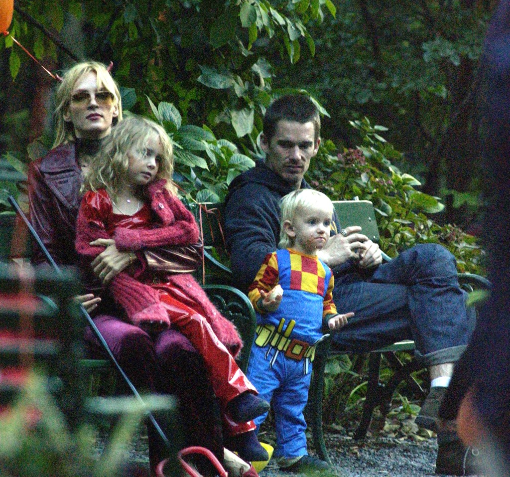 Actor Ethan Hawk visits actress Uma Thurman and his kids for Halloween