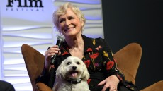 Glenn Close speaks onstage with her dog Sir Pippin of Beanfield at the Maltin Modern Master Award