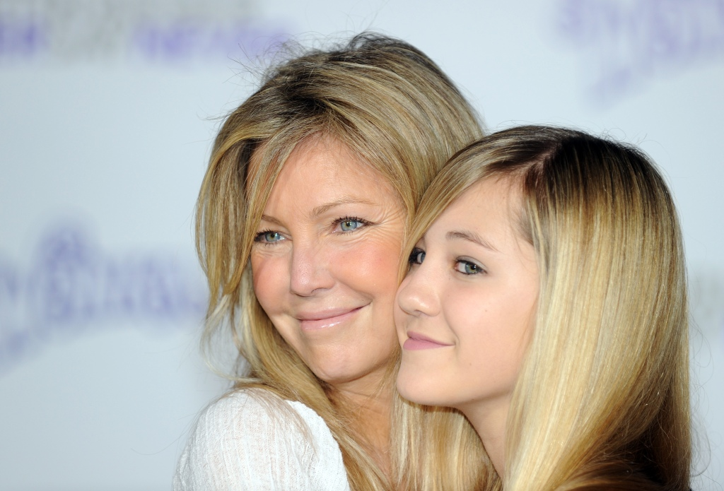 """Actress Heather Locklear and her daughter Ava Sambora (R) arrives at the premiere of """"Justin Bieber: Never say Never"""