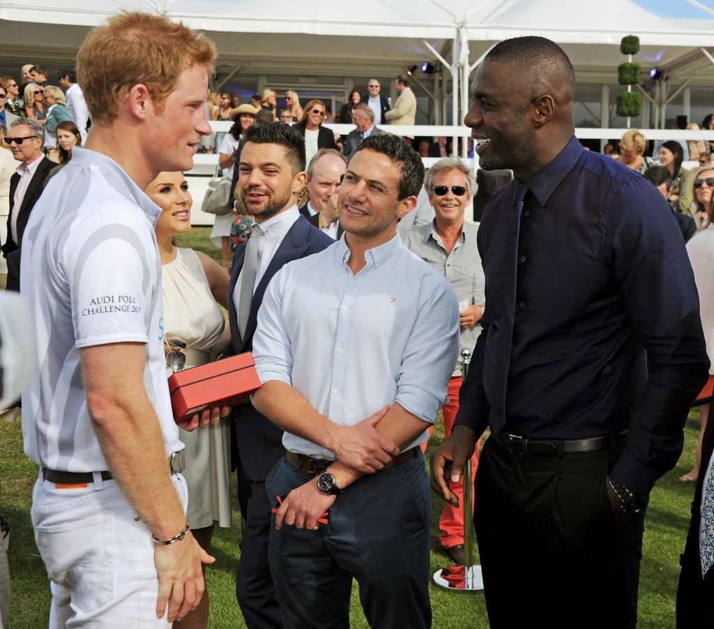 Prince Harry, Tonya Meli, Dominic Cooper, Warren Brown and Idris Elba attend day 2 of the Audi Polo Challenge