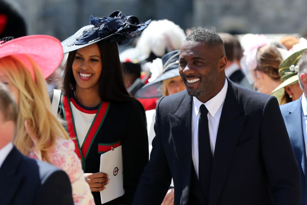 Sabrina Dhowre and Idris Elba leaves St George's Chapel at Windsor Castle after the wedding of Meghan Markle and Prince Harry