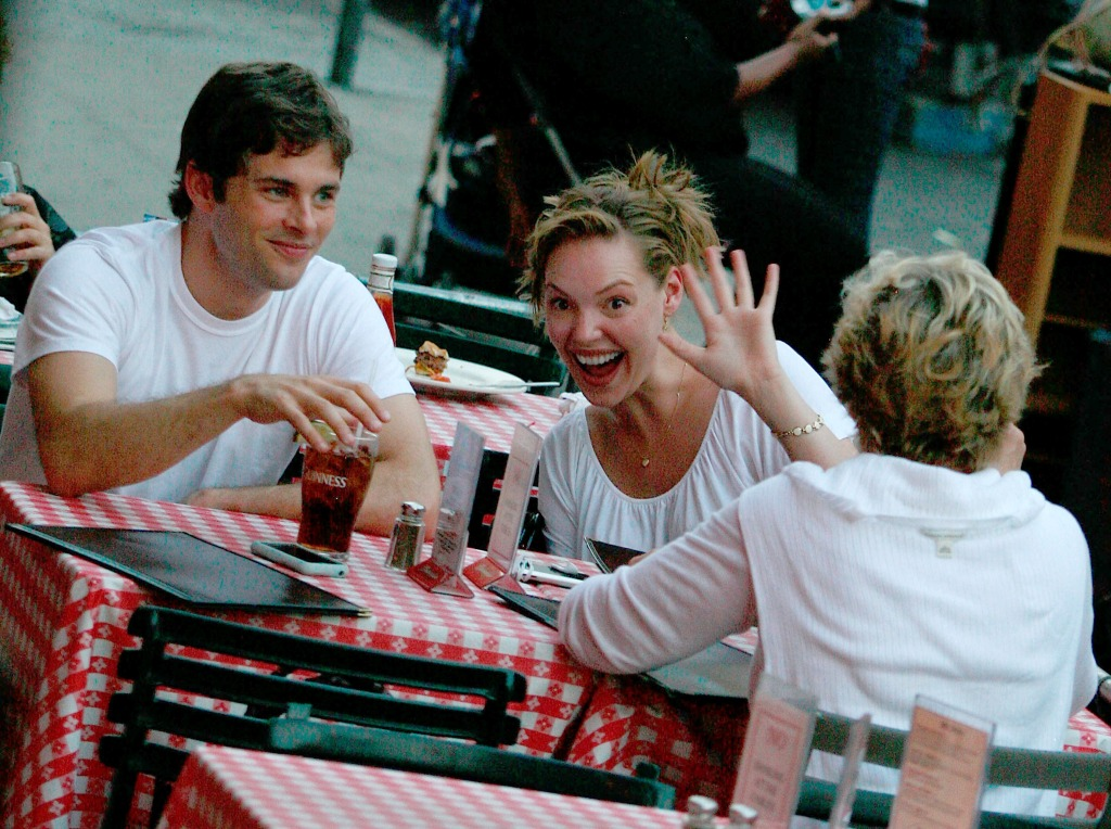 "Actress Katherine Heigl and James Marsden sighting filming scenes for their new movie ""27 Dresses"""