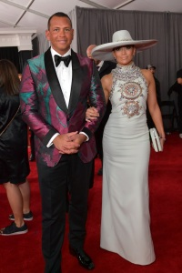Alex Rodriguez (L) and Jennifer Lopez attend the 61st Annual GRAMMY Awards
