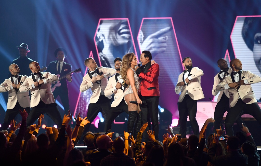Jennifer Lopez and Smokey Robinson perform onstage during the 61st Annual GRAMMY Awards