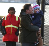 Jimmy Fallon is seen with wife Nancy Juvonen and children Frances Cole Fallon & Winnie Rose Fallon as they land by Helicopter in New York