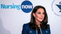 Britain's Kate Middleton, Duchess of Cambridge, delivers a speech to mark the launch of the Nursing Now campaign