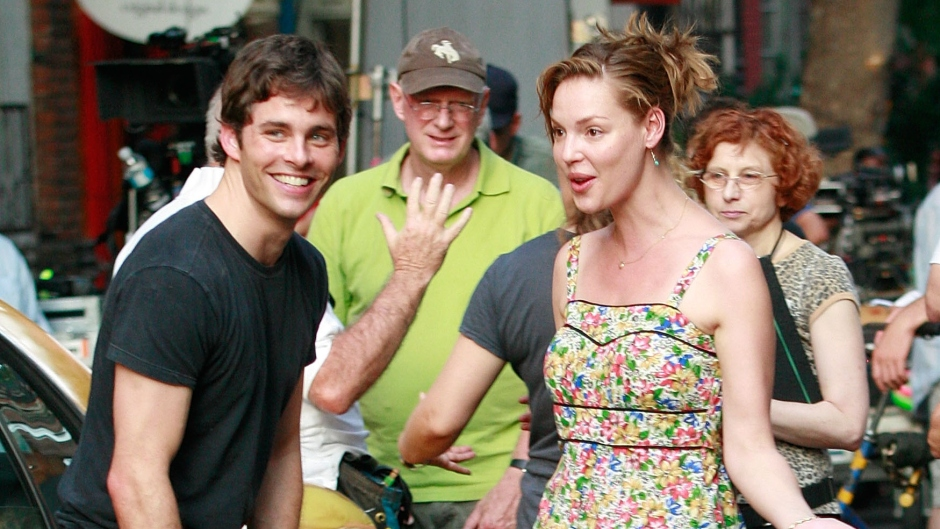"""Actress Katherine Heigl and James Marsden sighting filming scenes for their new movie """"27 Dresses"""""""