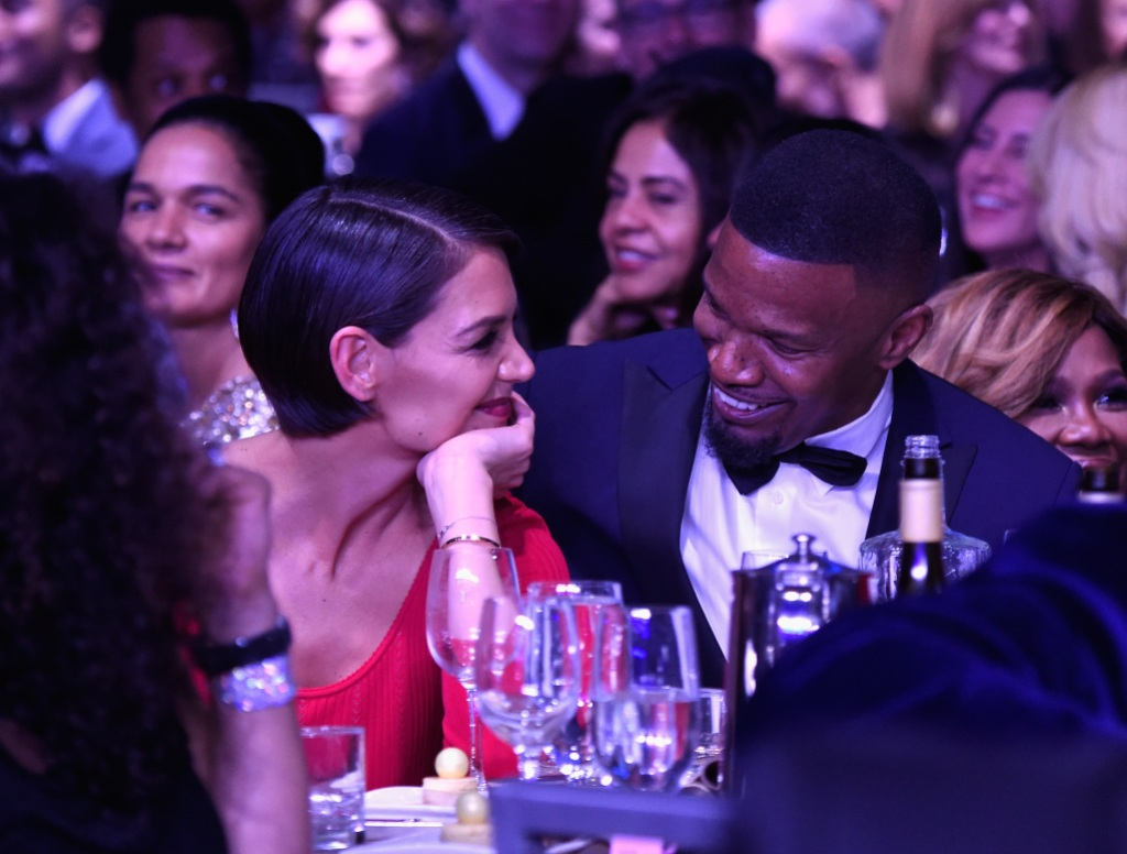 Katie Holmes and Jamie Foxx attend the Clive Davis and Recording Academy Pre-GRAMMY Gala