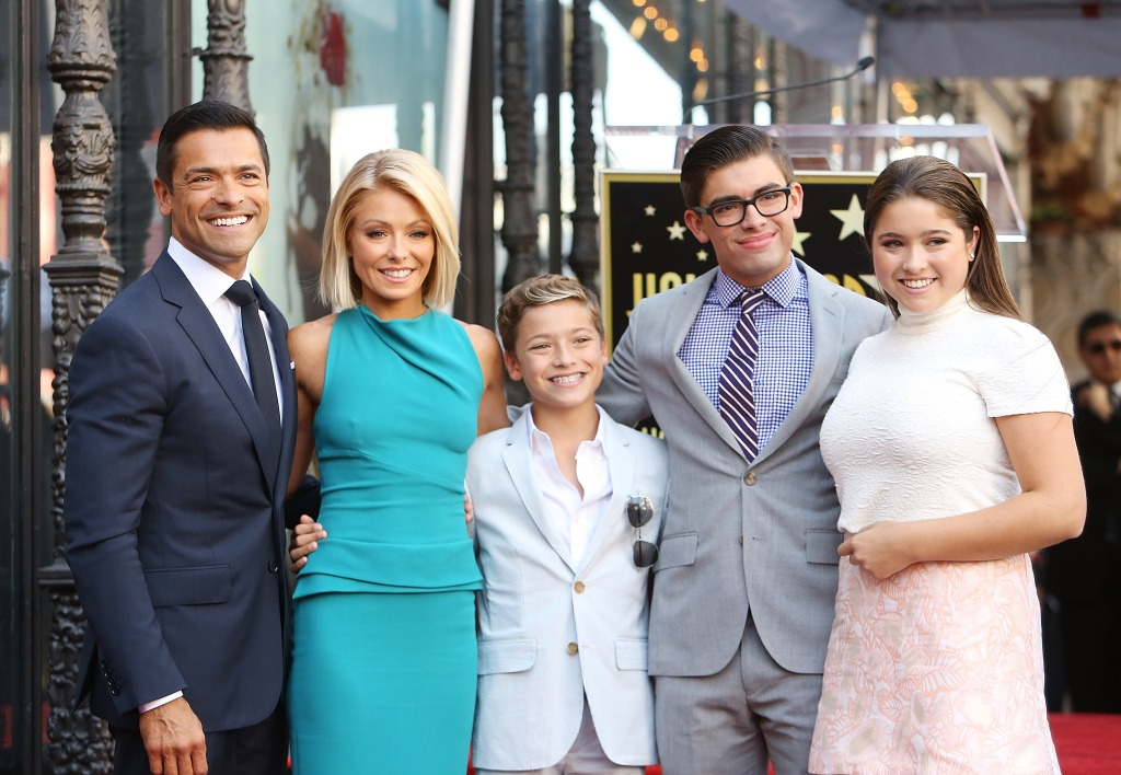 Kelly Ripa and Mark Consuelos with their children attend the ceremony honoring Kelly Ripa with a Star on The Hollywood Walk of Fame