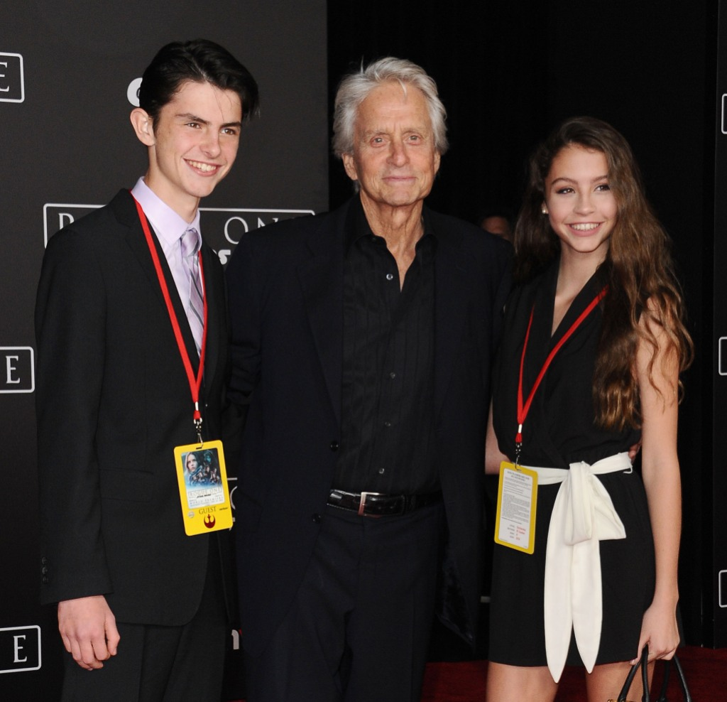 "Dylan Michael Douglas, actor Michael Douglas and Carys Zeta Douglas attend the premiere of ""Rogue One: A Star Wars Story"""