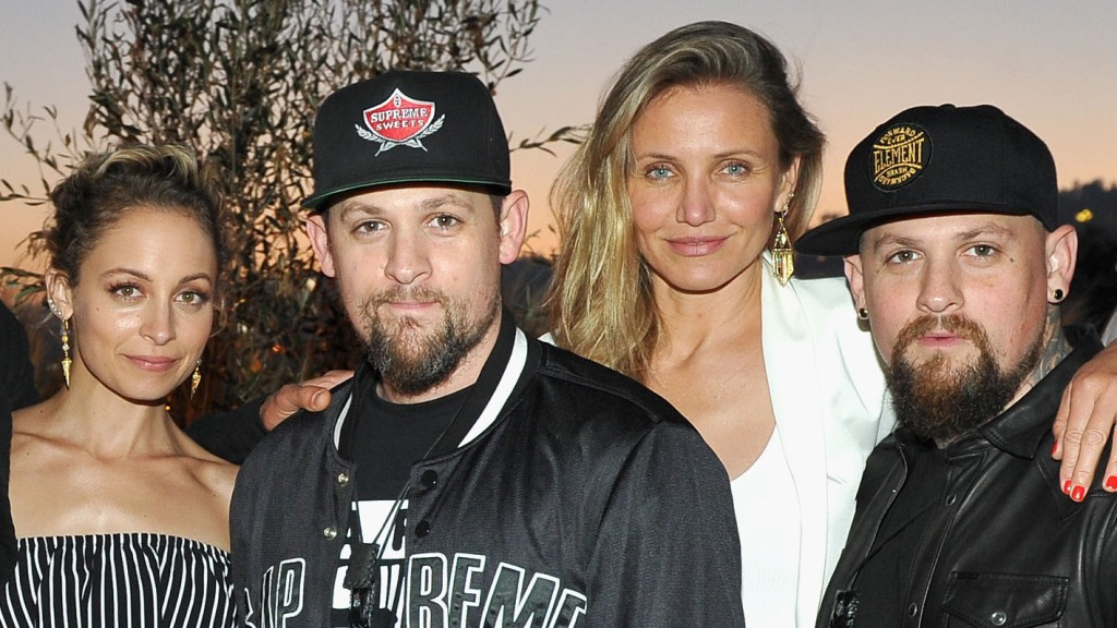 Nicole Richie, singer Joel Madden, actress Cameron Diaz and guitarist Benji Madden attend House of Harlow 1960 x REVOLVE