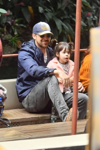 ** PREMIUM EXCLUSIVE RATES APPLY ** Eva Mendes celebrates her 45th birthday with her husband Ryan Gosling and two daughters at the happiest place on earth