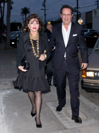 Dame Joan Collins and her husband Percy Gibson were seen arriving for dinner at 'Craigs' Restaurant in West Hollywood, CA