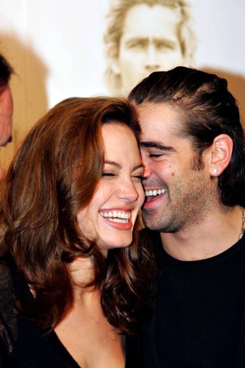 "Angelina Jolie and Colin Farrell in In Germany at Arrival Of Cinema Premiere film ""Alexander"""