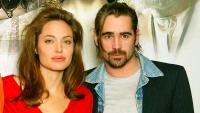 Angelina Jolie and Colin Farrell pose for photographs at the photocall for 'Alexander'