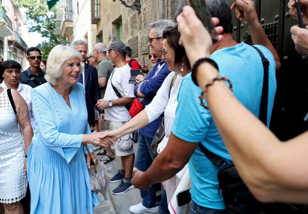 Camilla, Duchess of Cornwall greets wellwishers during a guided tour of Old Havana