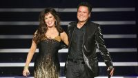 Marie Osmond and Donny Osmond perform in the Donny & Marie variety show at the Flamingo Las Vegas