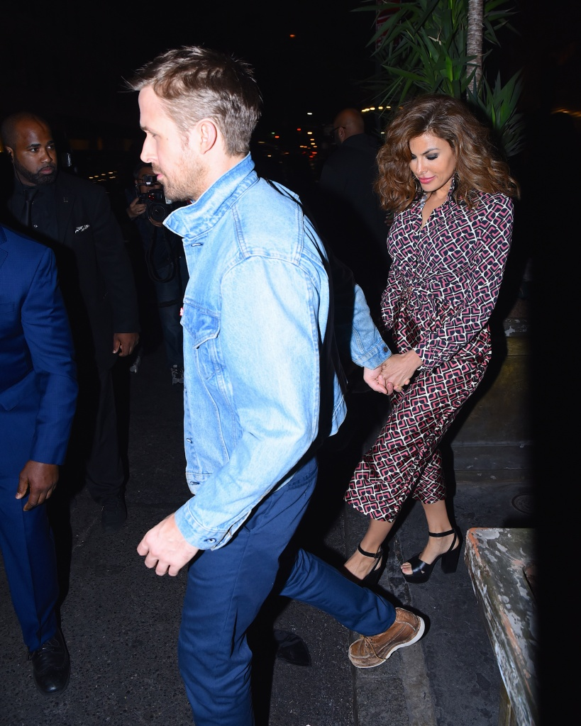 Ryan Gosling and Eva Mendes seen at Tao Restaurant for SNL after party on September 30, 2017 in New York City.