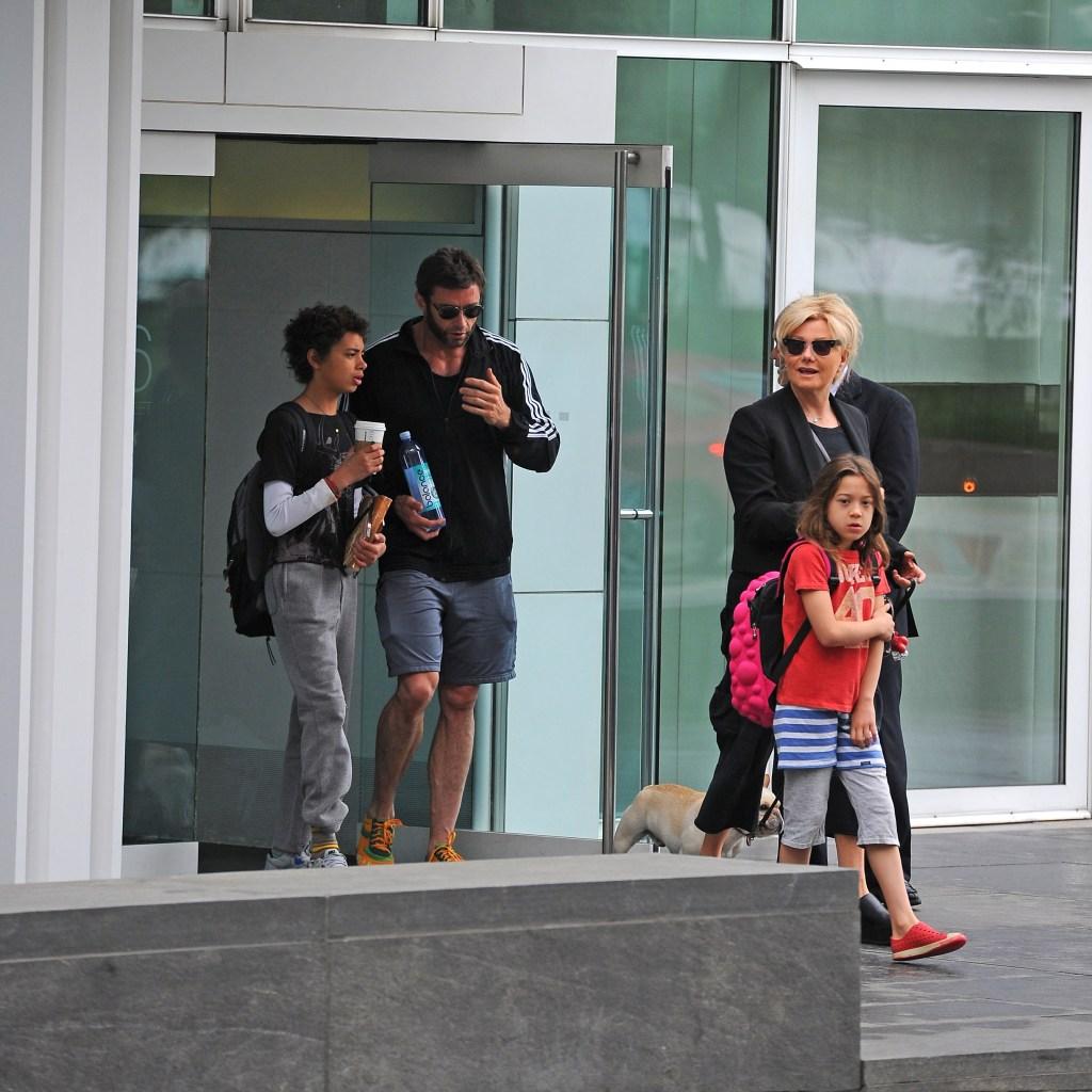 Ava Jackman and Hugh Jackman with Oscar Jackman and Deborra-Lee Furness sighting at school