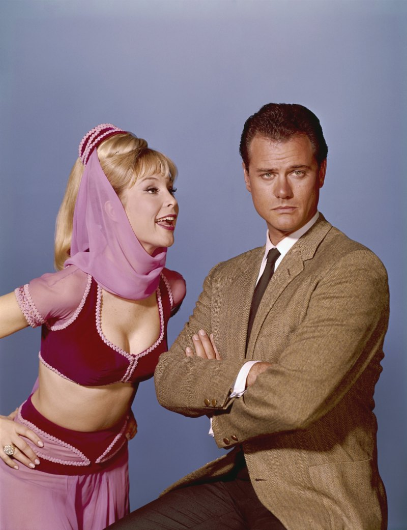 Barbara Eden and Larry Hagman in a promo image for 'I Dream of Jeannie'