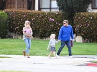 James Corden and his daughters Carey are seen in Los Angeles, California.