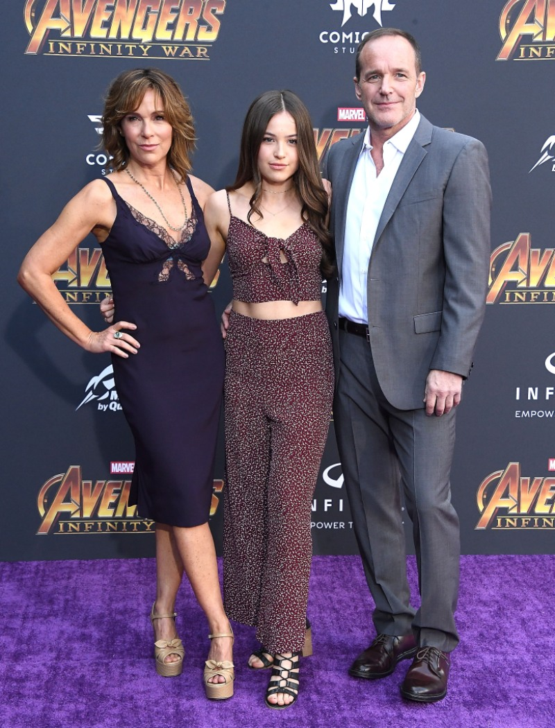 "Stella Gregg, Clark Gregg, Jennifer Grey arrives at the Premiere Of Disney And Marvel's ""Avengers: Infinity War"" o"