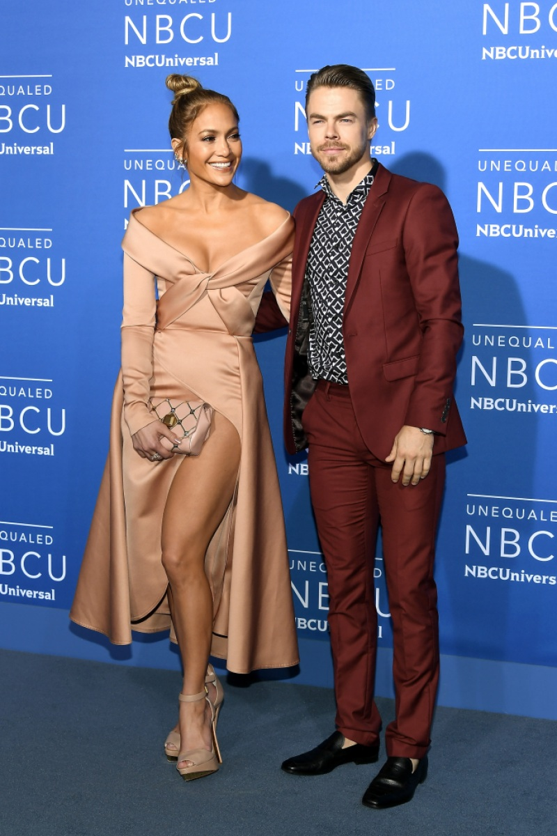 Jennifer Lopez (L) and Derek Hough attend the 2017 NBCUniversal Upfront at Radio City Music Hall