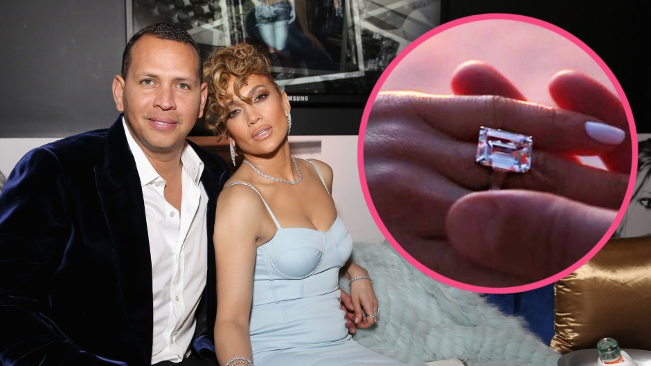 Jennifer Lopez and Alex Rodriguez with engagement ring insert