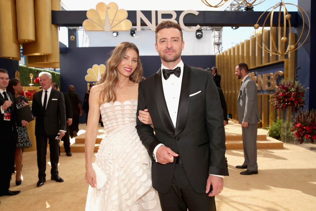ActorJessica Biel and actor/singer Justin Timberlake arrive to the 70th Annual Primetime Emmy Awards