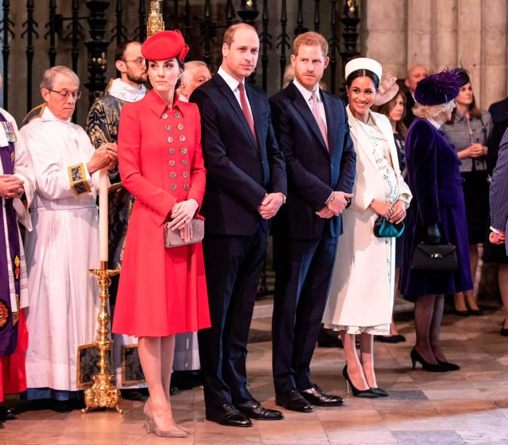 Kate Middleton, Prince William, Prince Harry, and Meghan Markle on Commonwealth Day