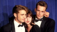 Jason Priestley, Shannen Doherty, and Luke Perry at the 43rd Annual Primetime Emmy Awards