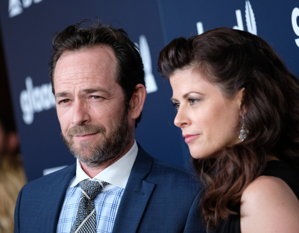 Luke Perry and girlfriend attend the 28th annual GLAAD Media awards at the Beverly Hilton hotel