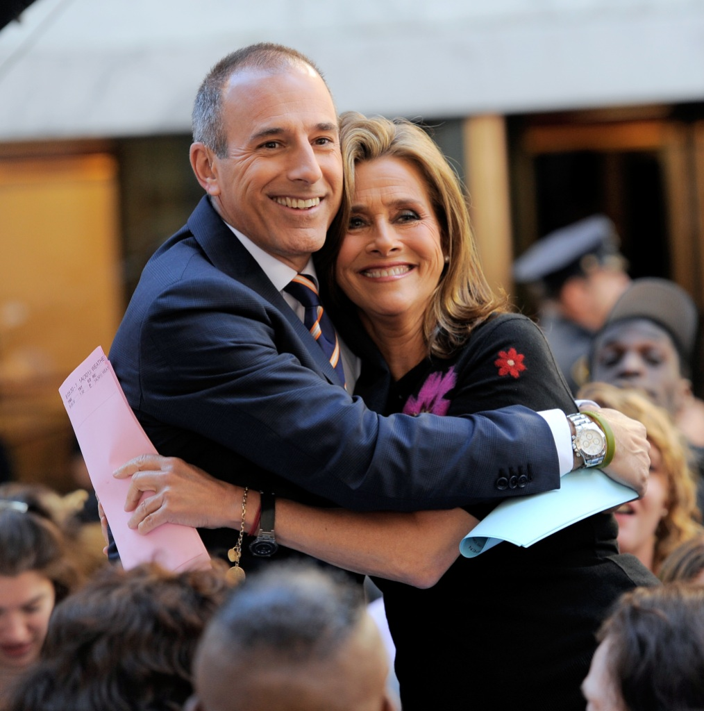 """Co-anchors of NBC's TODAY show Matt Lauer and Meredith Vieira onset at NBC's """"Today"""" at Rockefeller Center"""