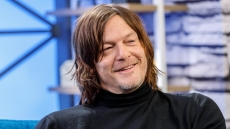 Actor Norman Reedus visits host Tim Kash on the set of 'The IMDb Show'