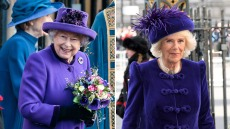 queen-elizabeth-camilla-duchess-of-cornwall-purple-dress-suits-commonwealth-day