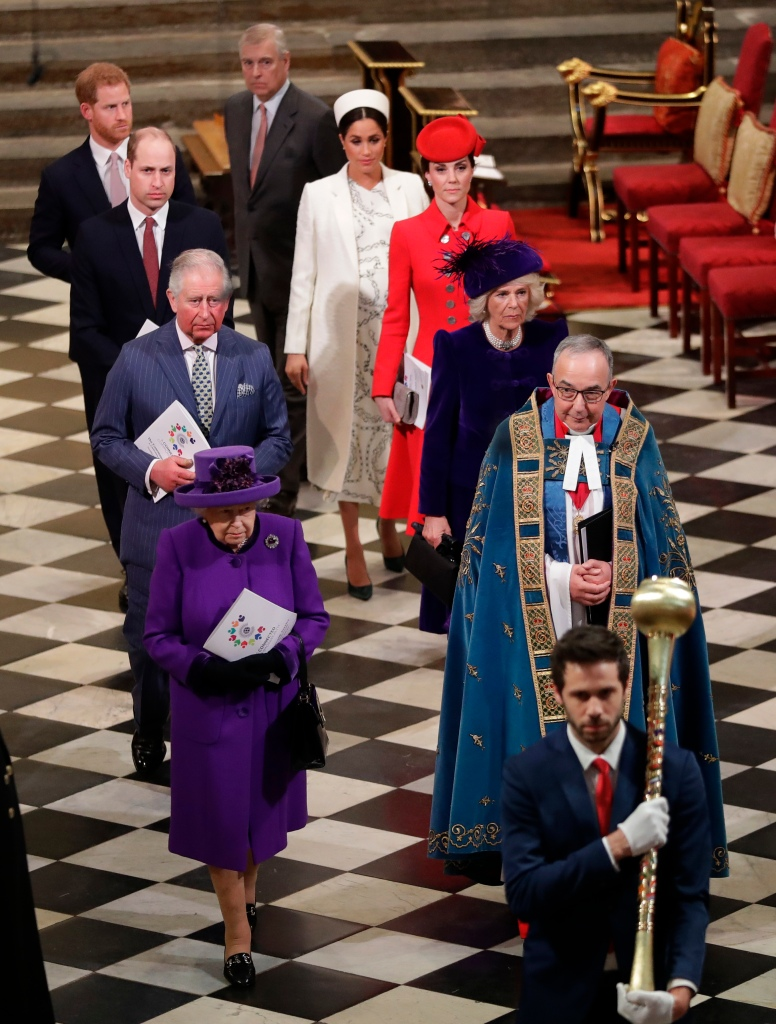 Britain's Queen Elizabeth II, Britain's Prince Andrew, Duke of York, Britain's Prince Harry, Duke of Sussex, Britain's Prince William, Duke of Cambridge,, Britain's Meghan, Duchess of Sussex, Britain's Prince Charles, Prince of Wales, Britain's Catherine, Duchess of Cambridge, and Britain's Camilla, Duchess of Cornwall walk the aisle to leave after attending the Commonwealth Day service