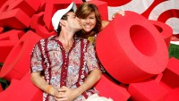 """Actors Luke Perry and Tiffani Thiessen pose at the target crossword puzzle at the """"Target A Time for Heroes to Benefit the Elizabeth Glaser Pediatric AIDS Foundation"""""""