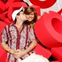 "Actors Luke Perry and Tiffani Thiessen pose at the target crossword puzzle at the ""Target A Time for Heroes to Benefit the Elizabeth Glaser Pediatric AIDS Foundation"""