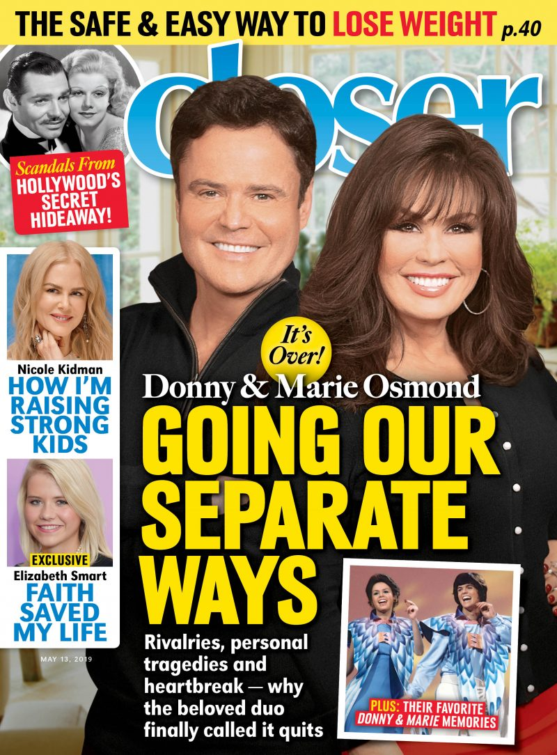 Donny Osmond and Marie Osmond on the cover of 'Closer Weekly'
