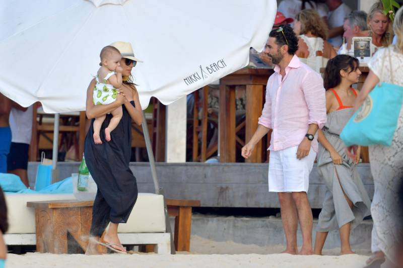 Eva Longoria and Jose with baby