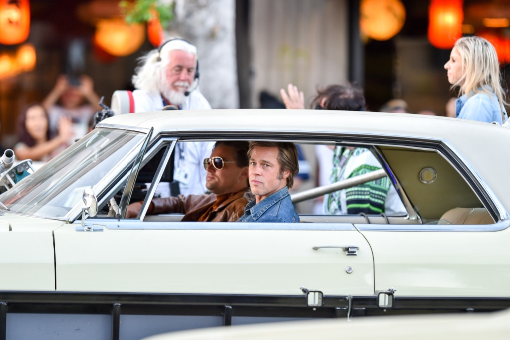 Brad Pitt is seen the set of Once Upon a Time In Hollywood