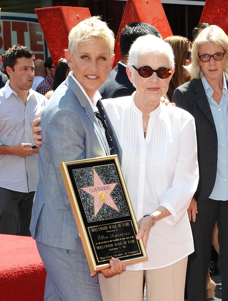 Ellen DeGeneres and her mother Betty DeGeneres attend DeGeneres' induction into the Hollywood Walk of Fame