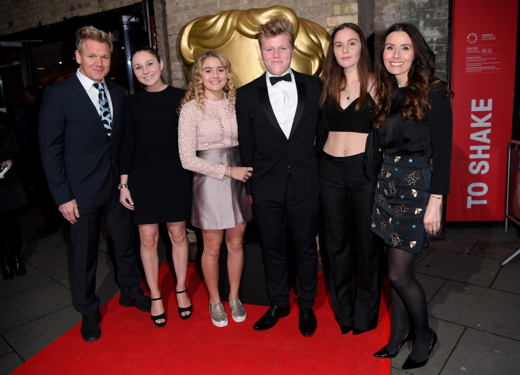 Gordon Ramsay, Holly Anna Ramsay, Matilda Ramsay, Jack Scott Ramsay, Megan Jane Ramsay and Tana Ramsay attend the BAFTA Children's Awards at The Roundhouse