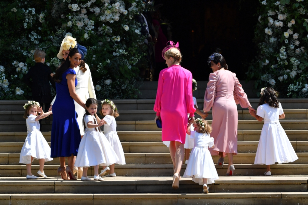 Princess Charlotte of Cambridge, Catherine, Duchess of Cambridge, Jessica Mulroney, Ivy Mulroney, Florence van Cutsem, Zoe Warren, Zalie Warren, Benita Litt, Remy Litt and Rylan Litt arrive for the wedding ceremony of Prince Harry and US actress Meghan Markle