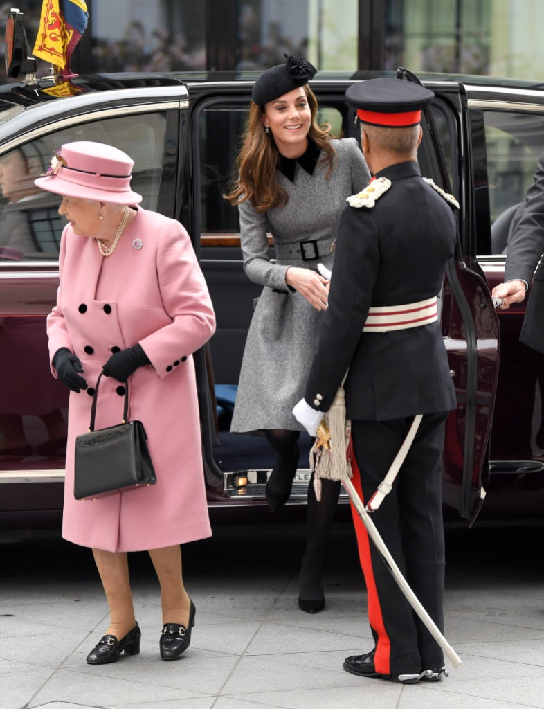 Queen Elizabeth II and Catherine, Duchess of Cambridge visit King's College London to officially open Bush House