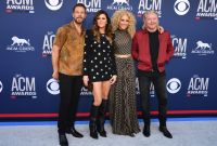 ) Jimi Westbrook, Karen Fairchild, Kimberly Schlapman and Phillip Sweet of US group Little Big Town arrive for the 54th Academy of Country Music Awards