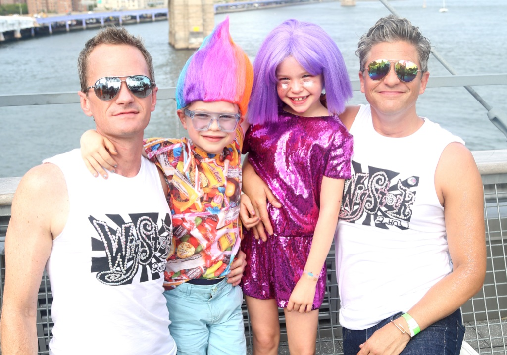 """Wigstock"" Producer Neil Patrick Harris, son Gideon Scott Burtka-Harris, daughter Harper Grace Burtka-Harris and husband David Burtka pose backstage at ""Wigstock 2.HO"" at The Pier 17"